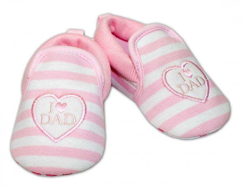 YO ! Kojenecké boty/capáčky I love Dad - růžové, 6-12 měsíců - 6/12měsíců