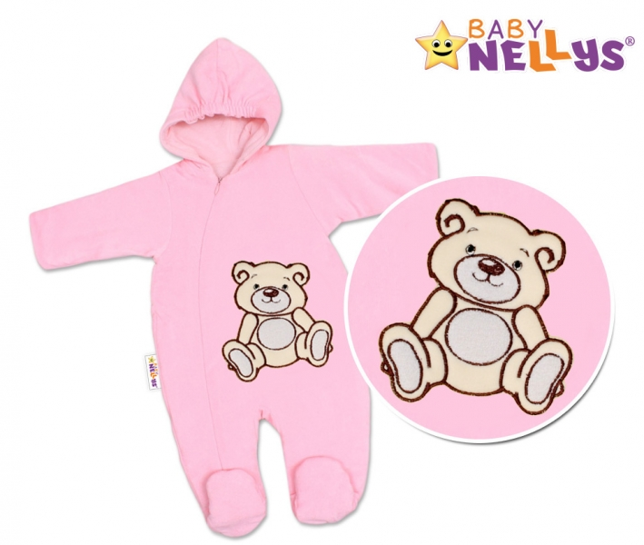 Kombinézka/overálek Teddy - Bear, velikost: 74 - růžová - 74 (6-9m)