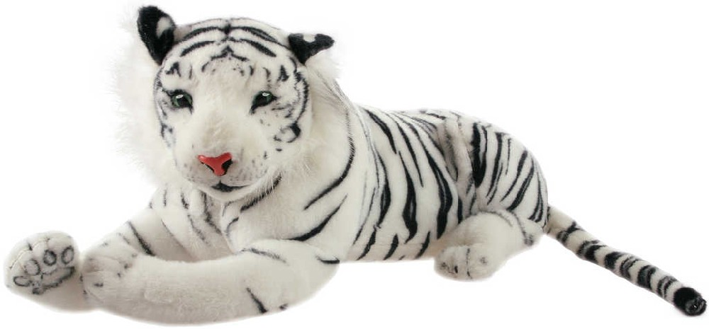 PLYŠ Tygr bílý velký 85cm ležící tygřík *PLYŠOVÉ HRAČKY*