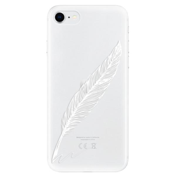 Odolné silikonové pouzdro iSaprio - Writing By Feather - white - iPhone SE 2020