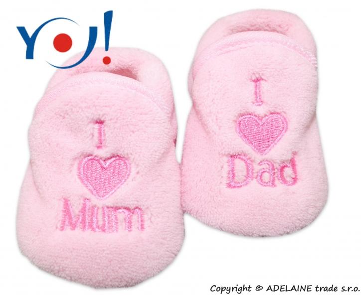 Botičky/ponožtičky YO ! I LOVE - sv. růžové, vel. 6-12m - 74 (6-9m)/80 (9-12m)/86 (12-18m)
