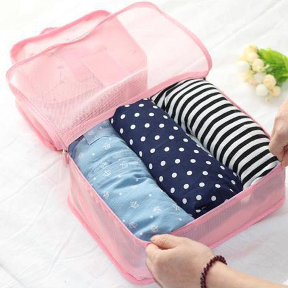 Sada cestovních organizérů do kufru - světle růžová