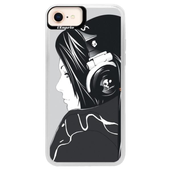Neonové pouzdro Pink iSaprio - Headphones - iPhone 8