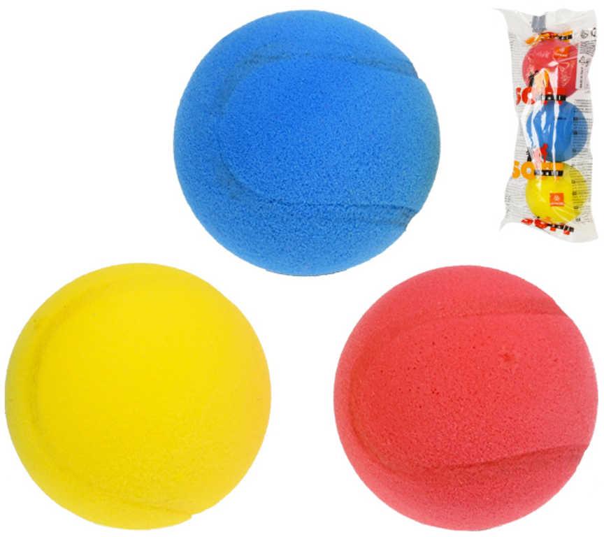 Míček pěnový barevný měkký molitanovaný set 3ks na soft tenis v sáčku