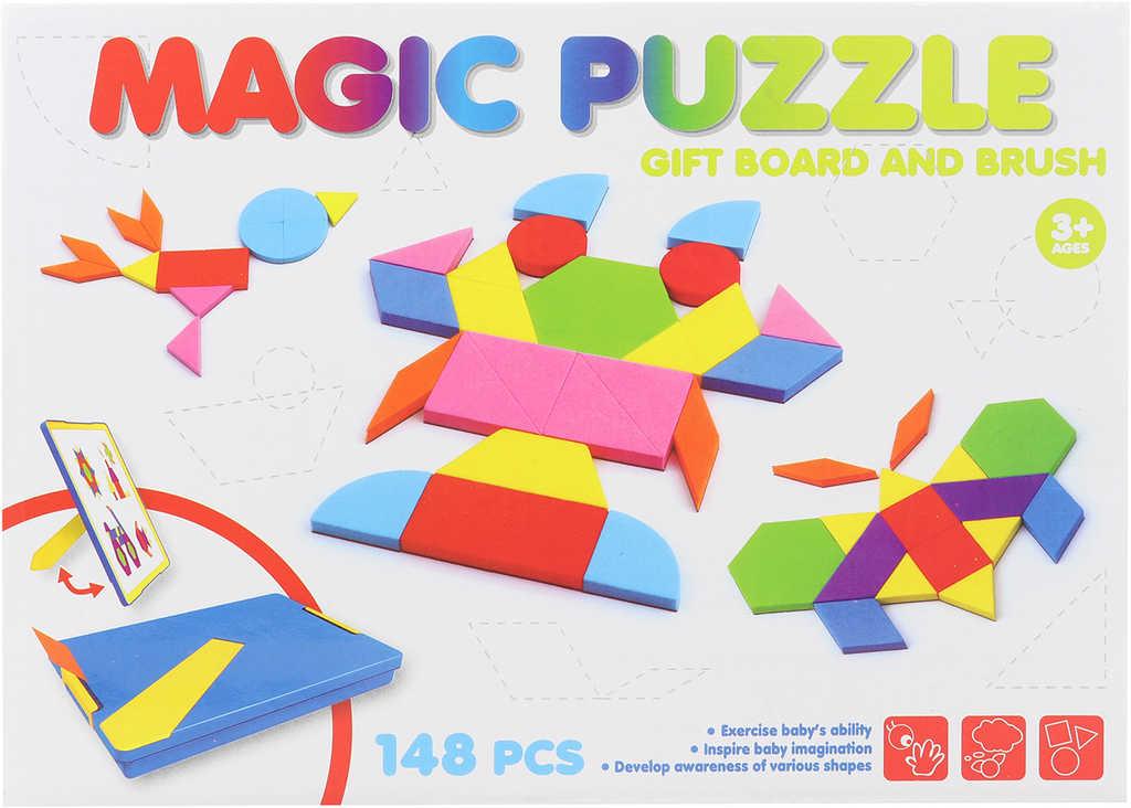 Tangramy magnetické soft pěnová puzzle skládačka 148 dílků
