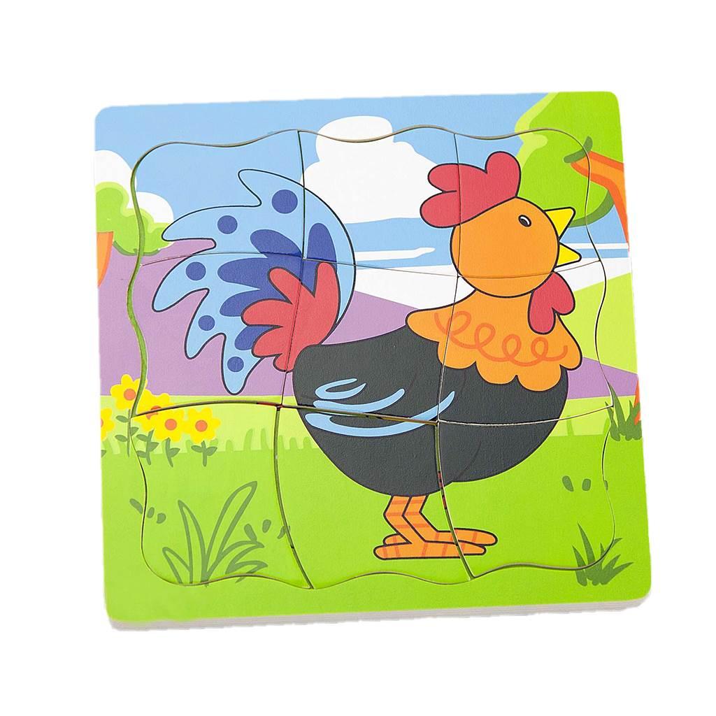 Dětské dřevěné puzzle Viga Jak roste kohoutek - multicolor