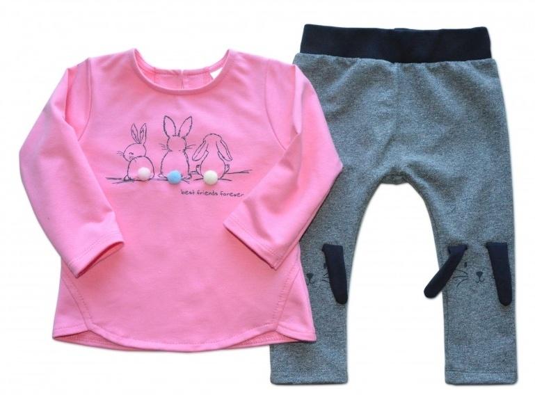 K-Baby Tepláková souprava Best Friends - růžová/melírek grafit - 62 (2-3m)