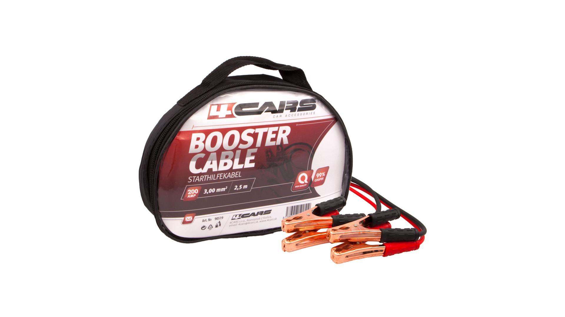 4CARS Startovací kabely 200amp, 3.0mm², 2.5m