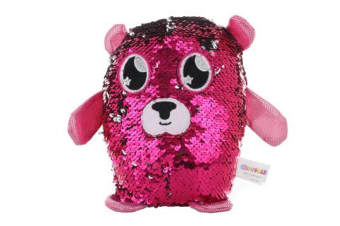 Flitrový plyšák - medvídek růžový