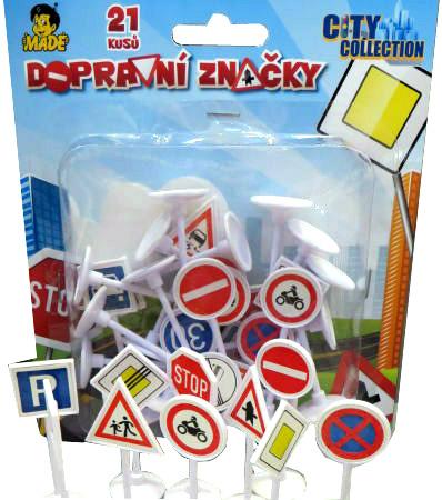 Značky dopravní City Collection set 21ks na kartě plast