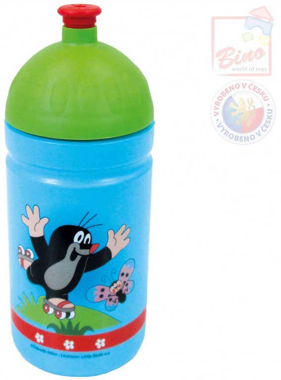 BINO Láhev na pití 19cm modrá pro děti zdravá Krtek (Krteček) český výrobek