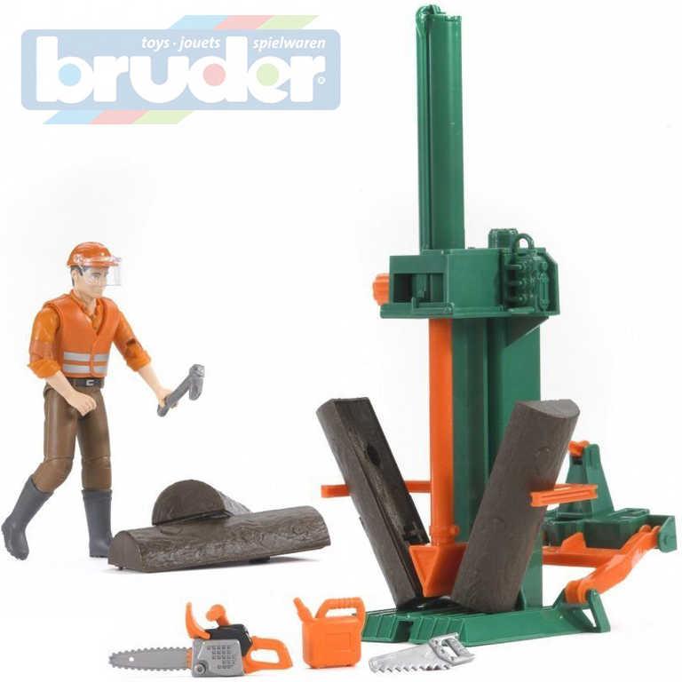 BRUDER 62650 Dřevařský set štípací stroj s figurkou a doplňky 1:16 plast