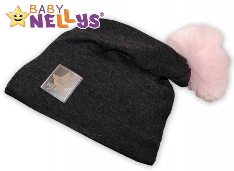 Bavlněná čepička Tutu květinka Baby Nellys ® - grafit, 48-52 - 48/52 čepičky obvod