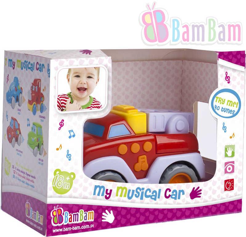 ET BAM BAM Baby autíčko 12 cm hasiči hudební plastové