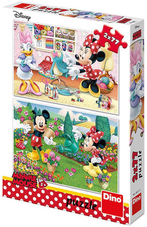 DINO Puzzle 2x77 dílků Disney Pracovitá Minnie skládačka 26x18cm