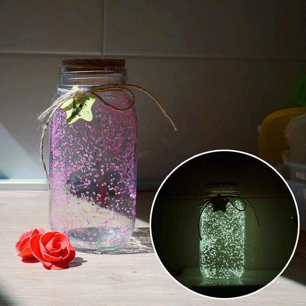 Svítící skleněná dóza - růžová/žlutá