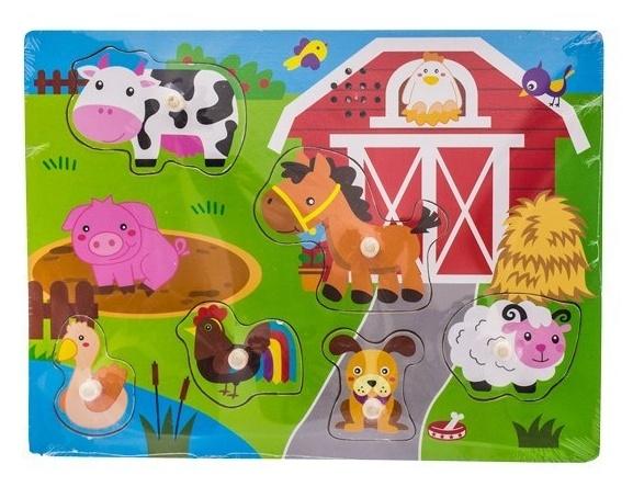Dřevěné zábavné puzzle vkládací Euro Baby - farma