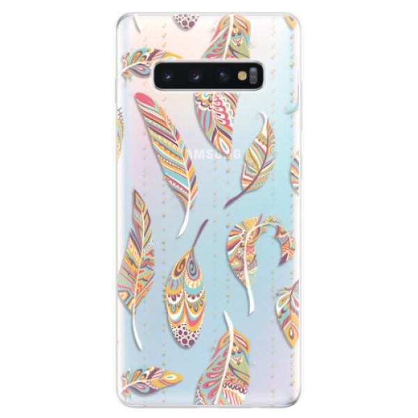 Odolné silikonové pouzdro iSaprio - Feather pattern 02 - Samsung Galaxy S10+