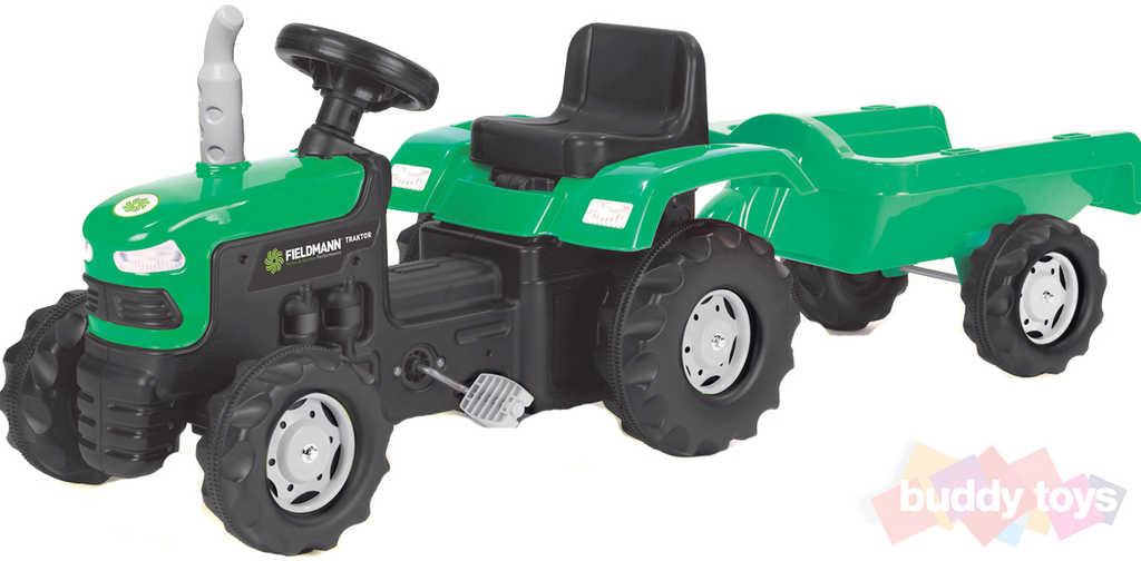BUDDY TOYS Traktor šlapací Fieldmann set s vozíkem zelený nosnost 35kg