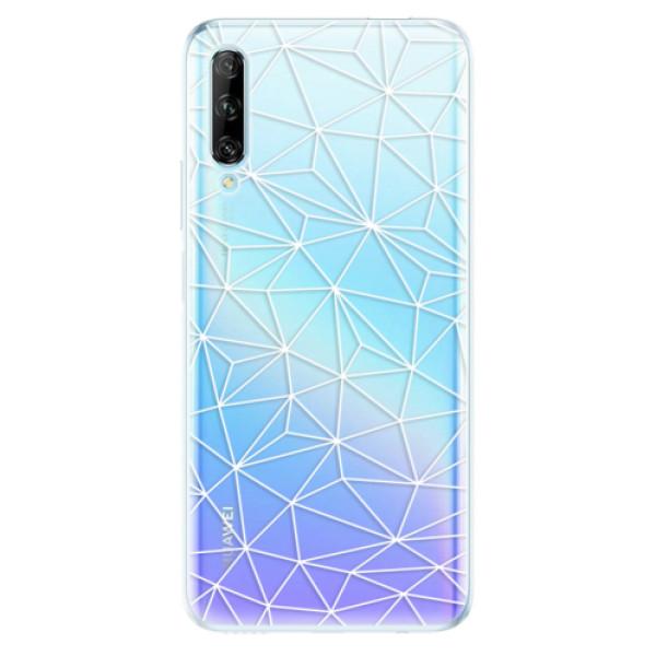 Odolné silikonové pouzdro iSaprio - Abstract Triangles 03 - white - Huawei P Smart Pro