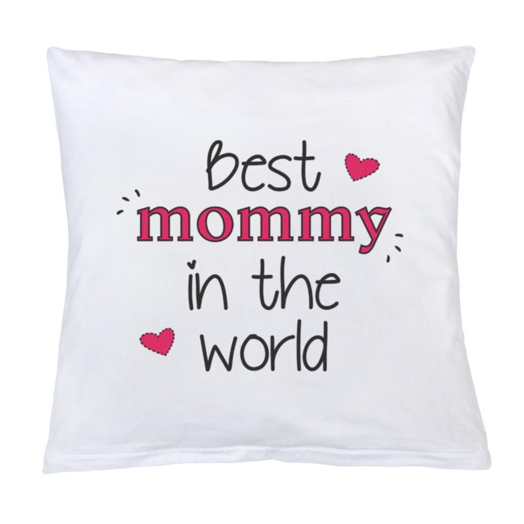 Polštář New Baby s potiskem Best mommy 40x40 cm - bílá