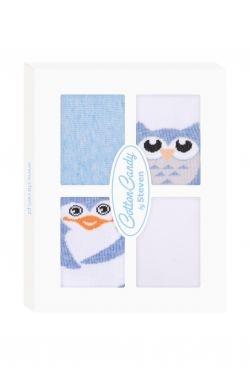 Kojenecké ponožtičky CANDY BOX - Sovička a tučňáček - modré