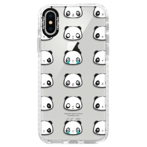 Silikonové pouzdro Bumper iSaprio - Panda pattern 01 - iPhone X
