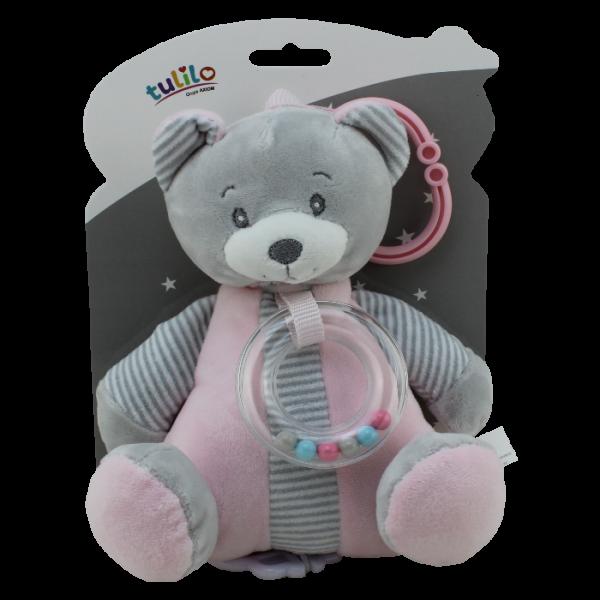 Závěsná plyšová hračka Tulilo s melodií Medvídek, 18 cm - růžový