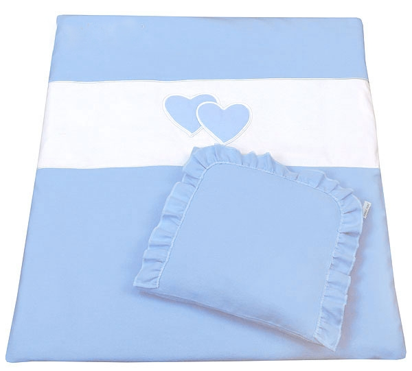 Set do kočárku s výšivkou lux - 2D - Srdce - modrá - 2 dílná