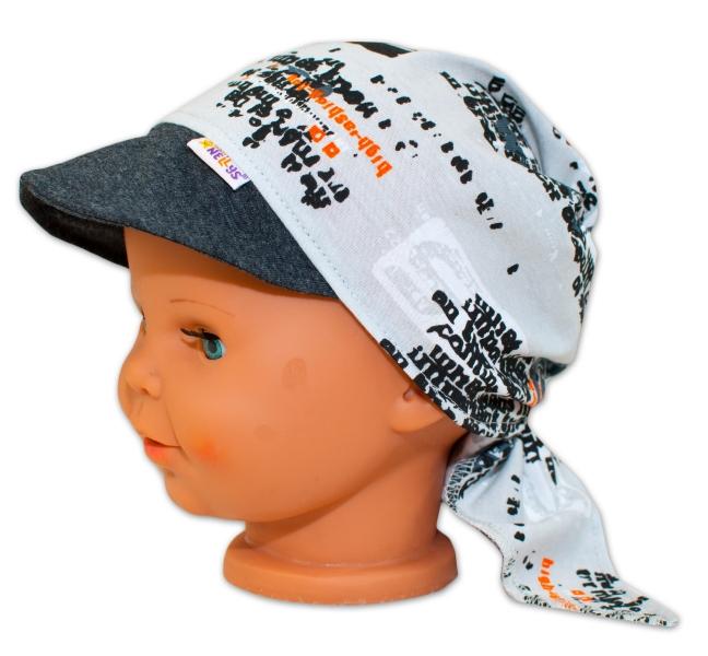 Baby Nellys Šátek na zavazování s kšiltem - Motorky, vel. 44-46 - 44/46 čepičky obvod