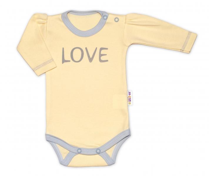 Baby Nellys Body dlouhý rukáv Love - žluté - 50 (0-1m)