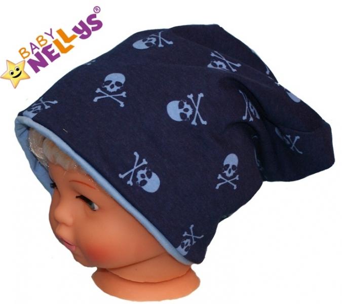 Bavlněná čepička s lebkami Baby Nellys ® - tm. modrá - 50/52 čepičky obvod