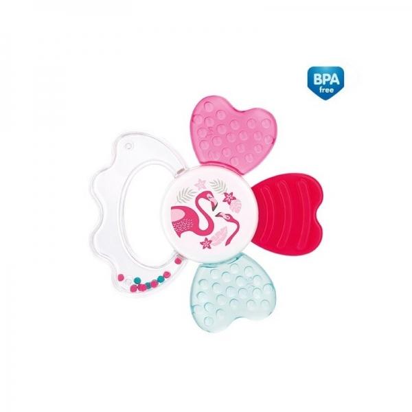Chrastítko s chladícím kousátkem Canpol Babies Zvířatka - tm. růžové
