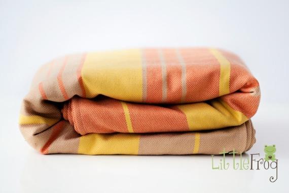 Little FROG Tkaný šátek na nošení dětí s vlnou MERINO - Citrine - L (40)