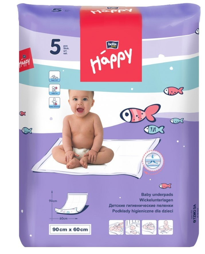 Happy dětské přebalovací podložky, 90 cm x 60 cm, balení 5 ks