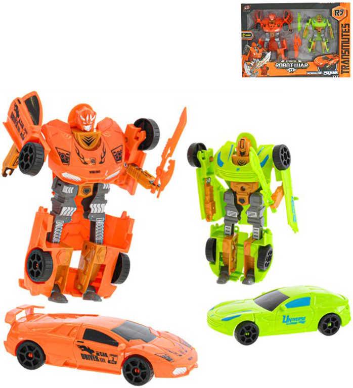 Auto závodní / robot s transformací 15-19cm transrobot plast set 2ks v krabici