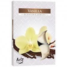 Aura Vanilla - Vanilka vonné čajové svíčky 6 ks