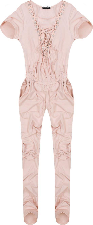 Dlouhý overal v pudrově růžové barvě se zavazováním (ART32) - Růžová/ONE SIZE