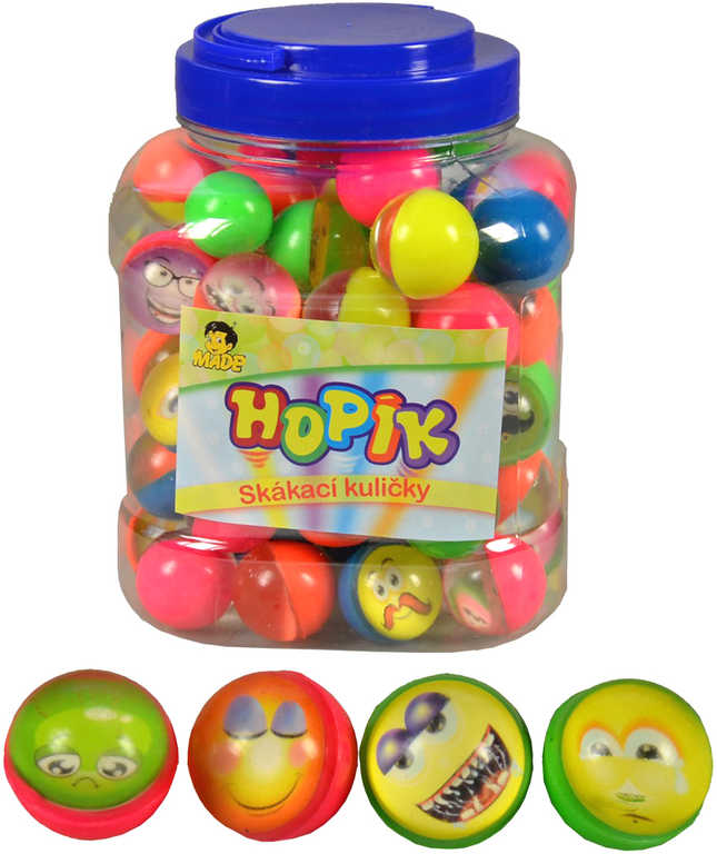 Hopík s očima skákací míček 3cm hopskulička různé druhy plast