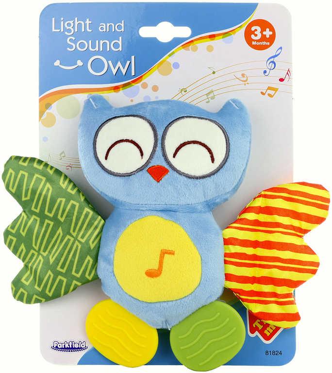 PLYŠ Baby sovička šustící kousátko s melodií na baterie pro miminko Světlo Zvuk
