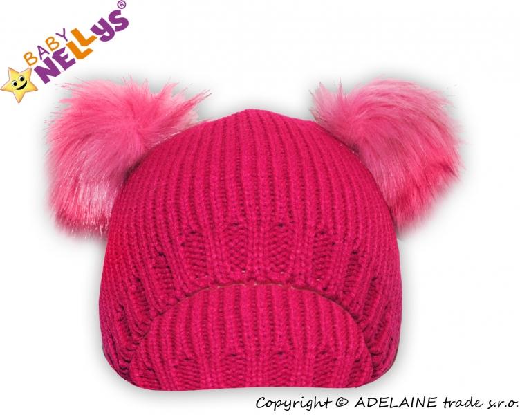 Zimní čepice Medvídek chlupáček Baby Nellys ® - tm. růžový