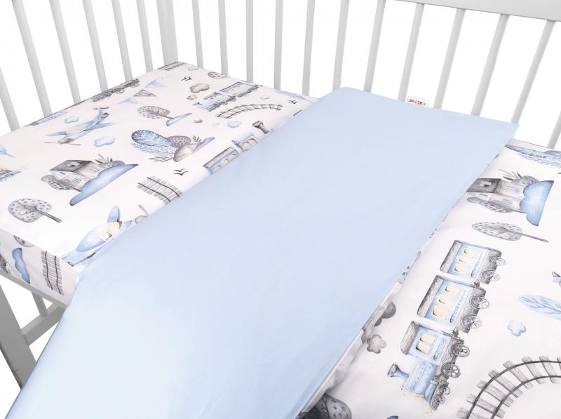 baby-nellys-2-dilne-bavlnene-povleceni-vlacek-modra-120x90