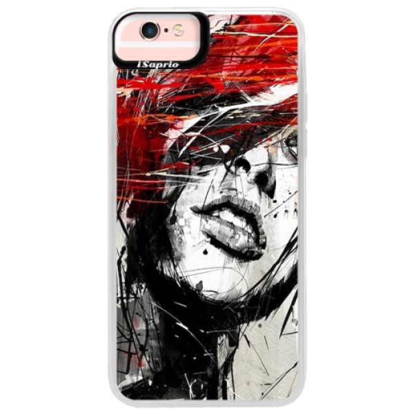 Neonové pouzdro Pink iSaprio - Sketch Face - iPhone 6 Plus/6S Plus