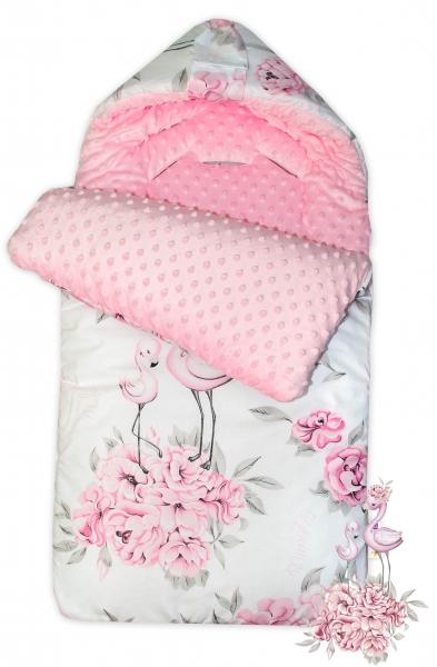 Bavlněný spací vak/fusák Baby Nellys, minky, Plameňák, 45 x 95 cm - růžový