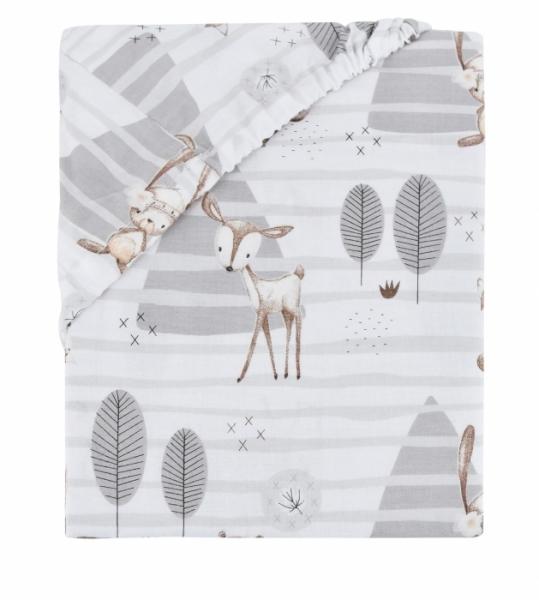 Baby Nellys Dětské bavlněné prostěradlo do ohrádky, 90x90cm - Zvířátka v lese - 90x90