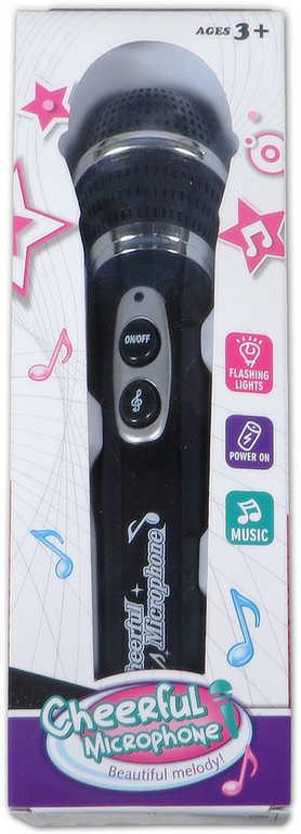 Mikrofon na baterie 23cm plastový funkční s melodií v krabici Světlo Zvuk