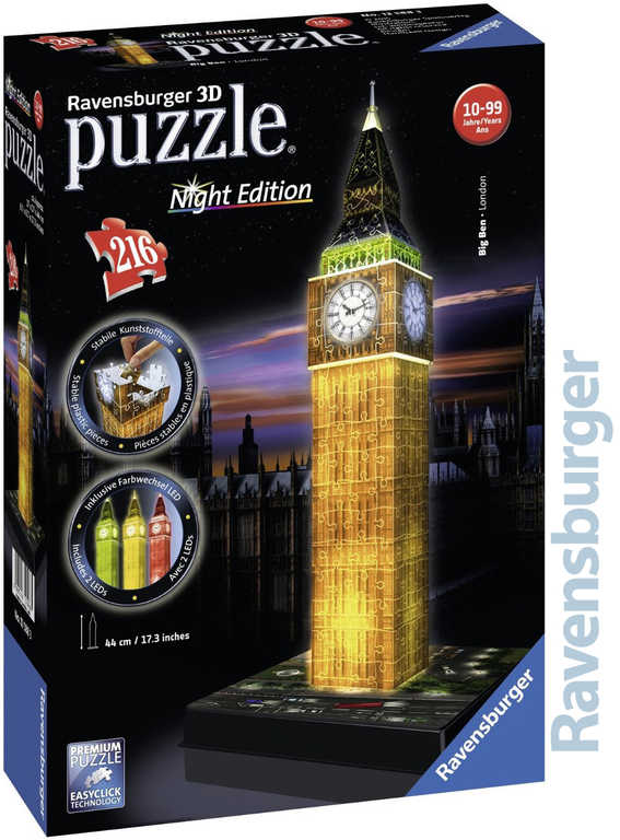 RAVENSBURGER Puzzle 3D Big Ben noční edice na baterie Světlo 216 dílků