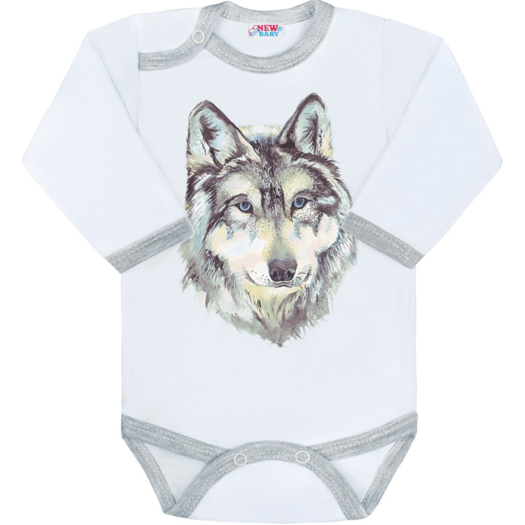 Body s potiskem New Baby Wolf - šedá/80 (9-12m)