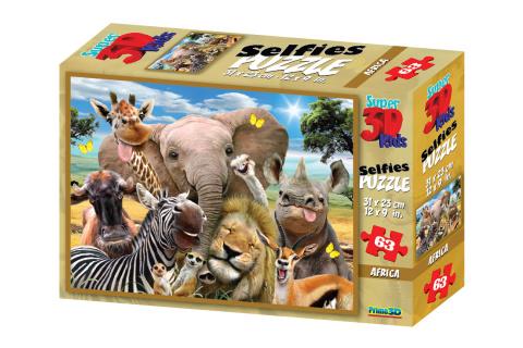 3D Puzzle Afrika selfie 63 dílků