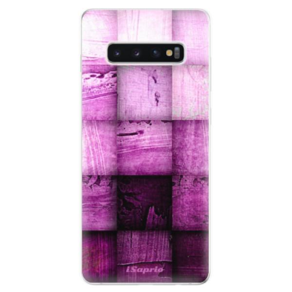 Odolné silikonové pouzdro iSaprio - Purple Squares - Samsung Galaxy S10+